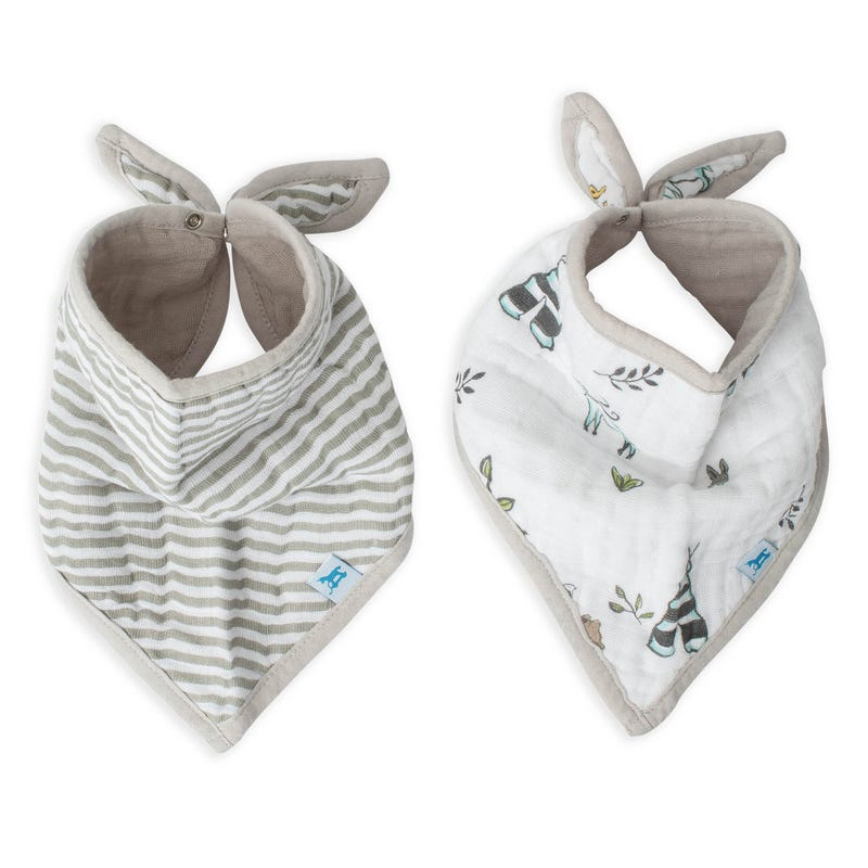 Cotton Muslin Bandana Drool Bib Set of 2 - Forest Friends