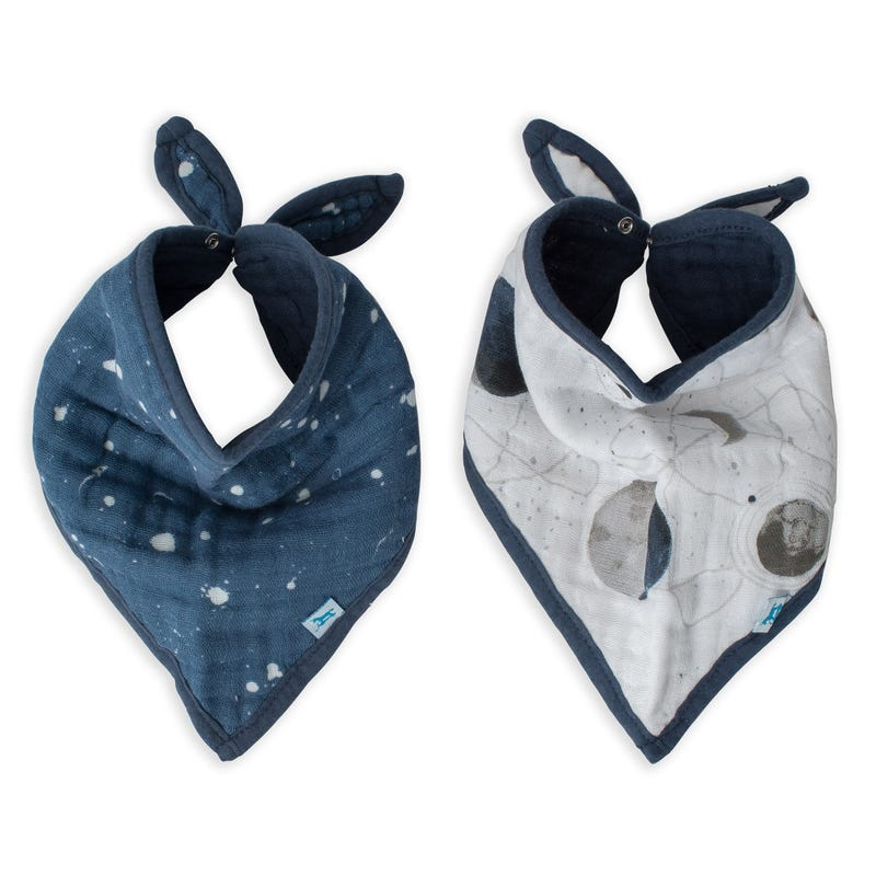 Cotton Muslin Bandana Drool Bib Set of 2 - Planetary
