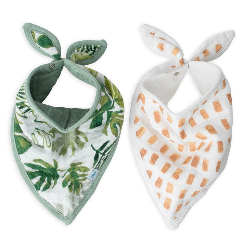 Cotton Muslin Bandana Drool Bib Set of 2 - Tropical Leaf