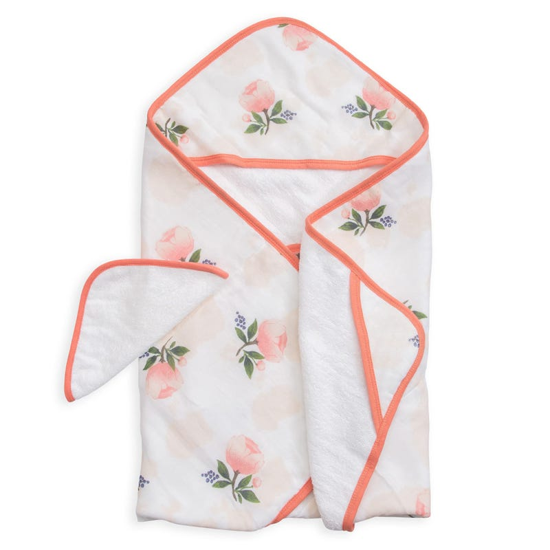 Hooded Towel and Washcloth Set - Watercolor Roses