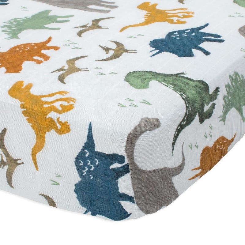 Cotton Muslin Crib Sheet - Dino Friends
