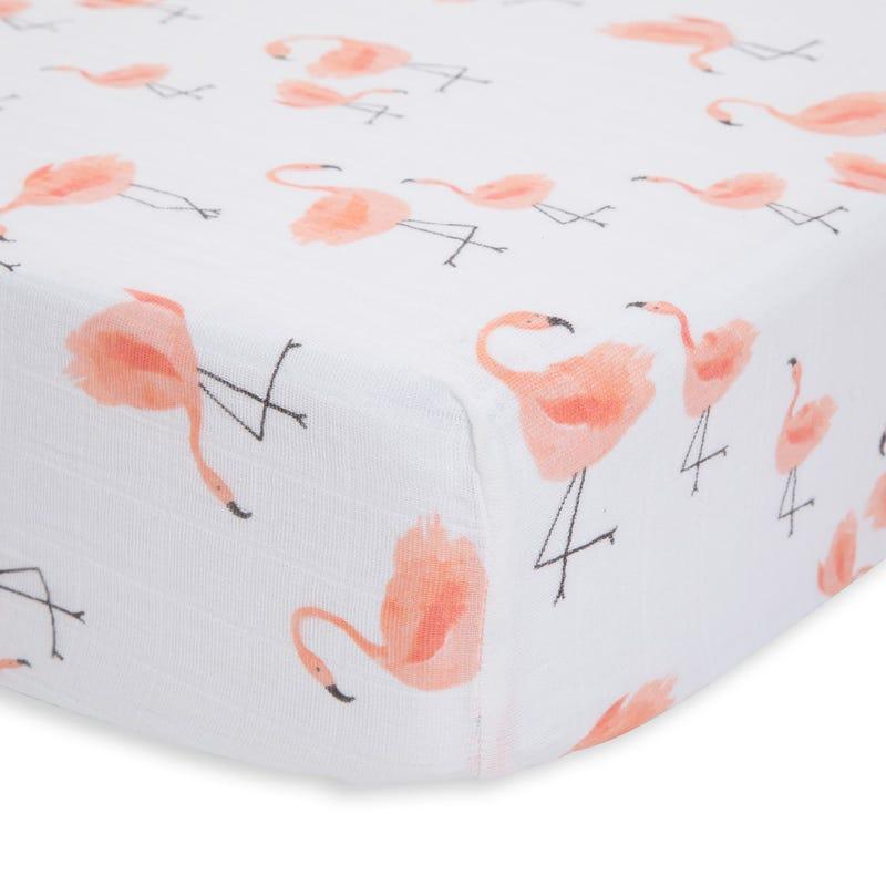 Cotton Muslin Crib Sheet - Pink Ladies