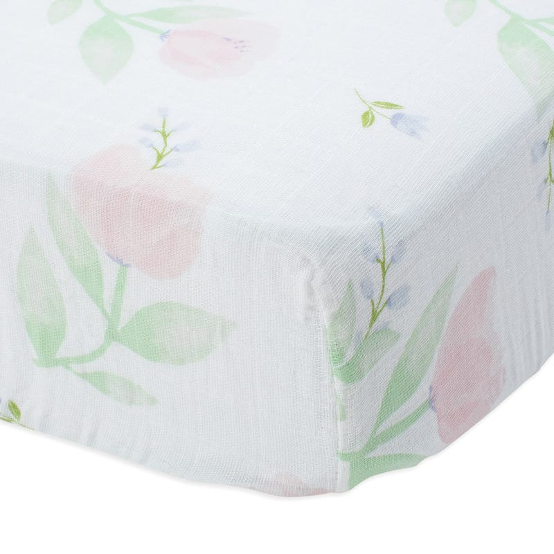 Cotton Muslin Crib Sheet - Pink Peony