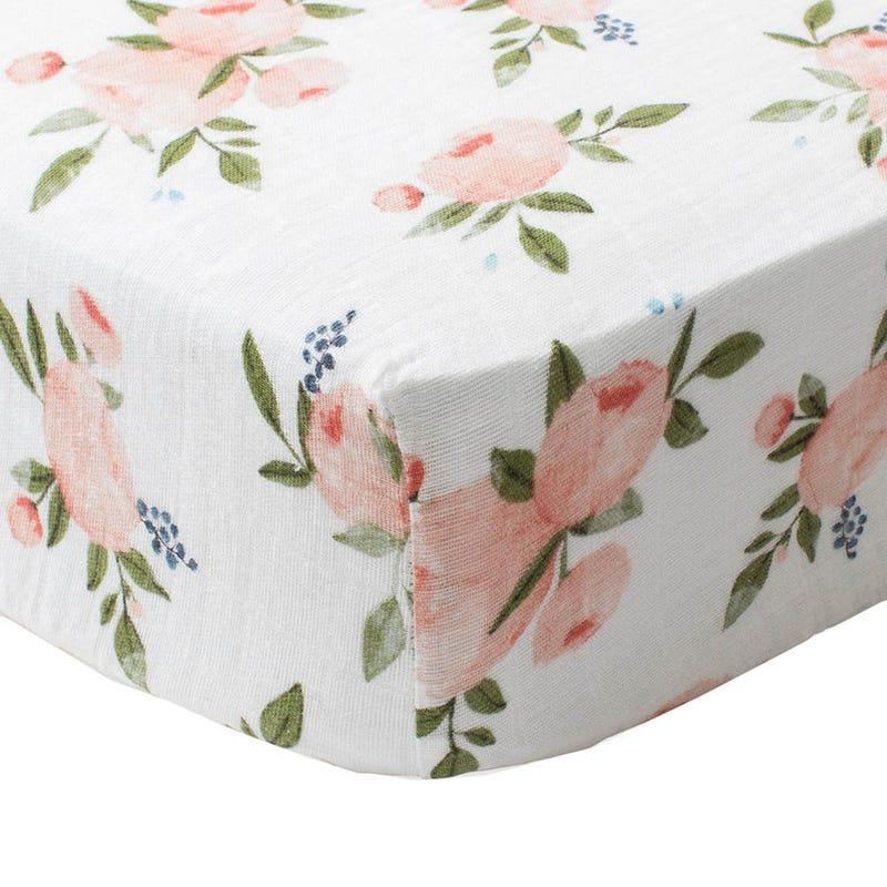 Crib Sheet Muslin - Flowers Pink