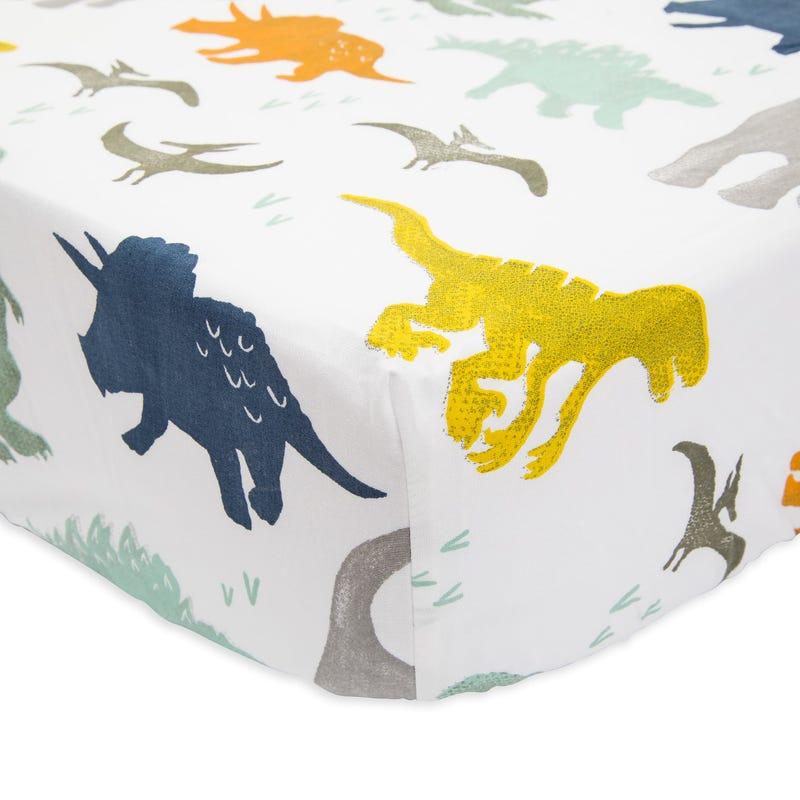 Percale Crib Sheet - Dino Friends