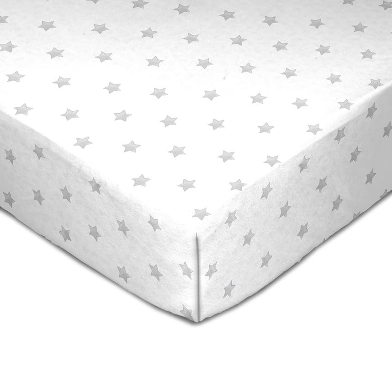 Muslin Crib Fitted Sheet - Gray Stars