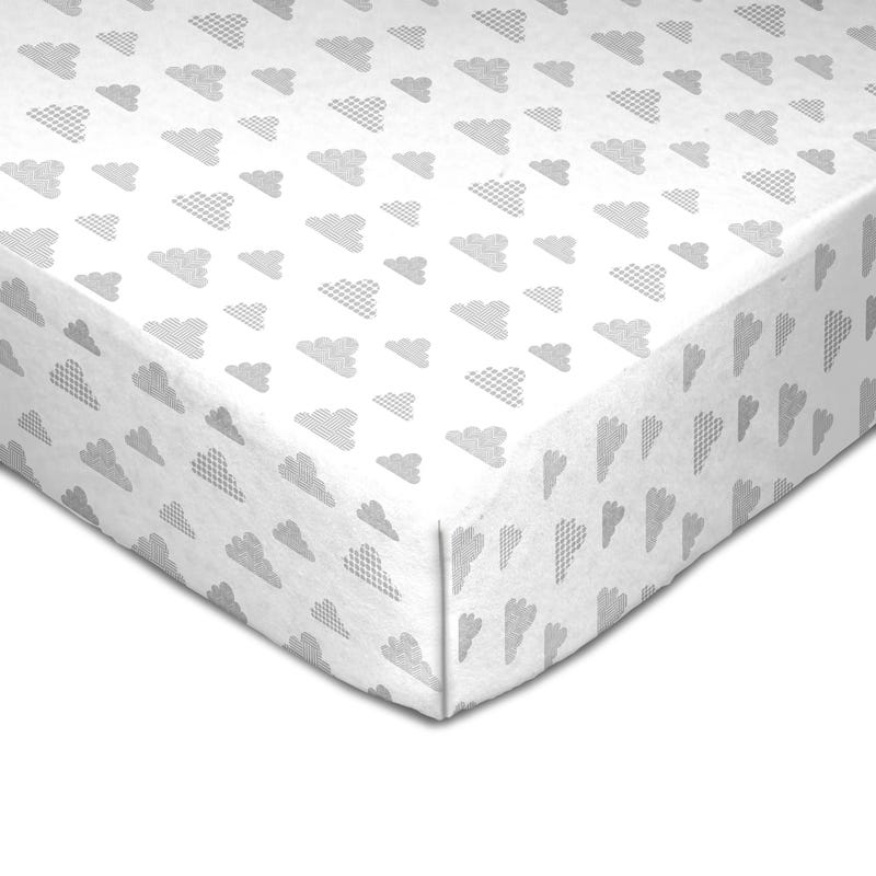 Muslin Crib Fitted Sheet - Gray Clouds