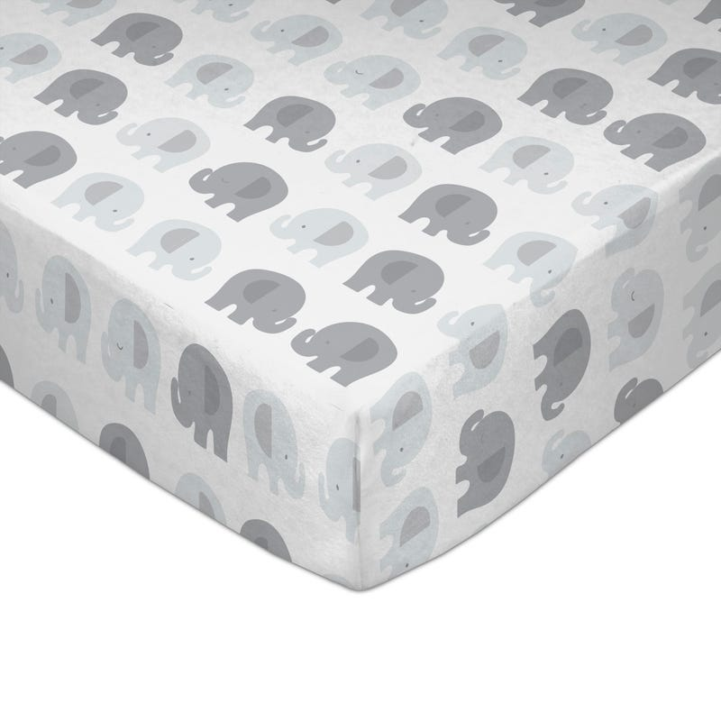 Crib Fitted Sheet - Gray Elephant
