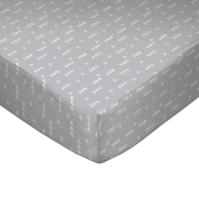 Crib Fitted Sheet - Gray Triangles