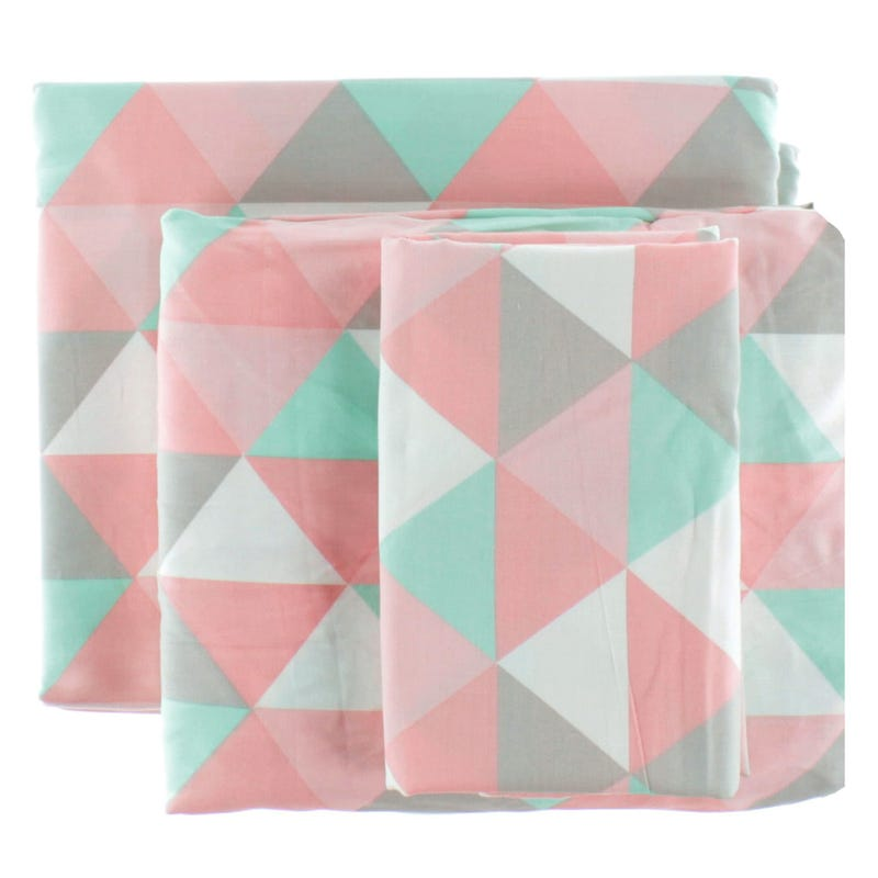 Ensemble Drap Lit Jumeau - Triangle Rose