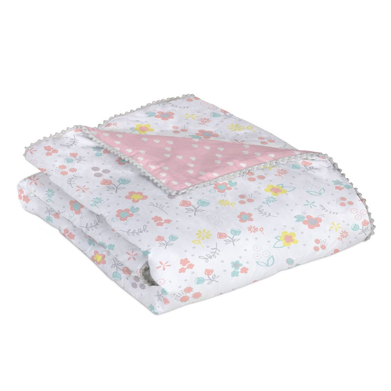 Quilted Comforter - Pink Flowers