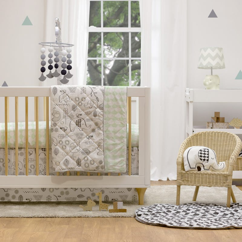 4-Piece Crib Bedding Set - Kayden Elle Elephant