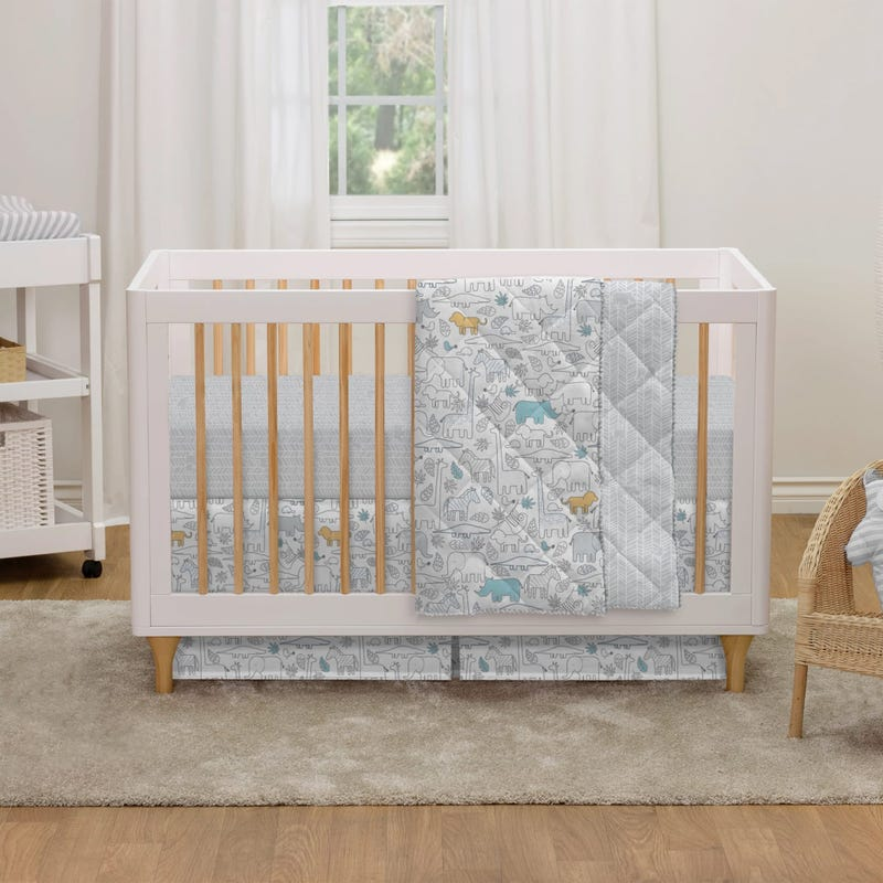 4-Piece Crib Bedding Set - Safari