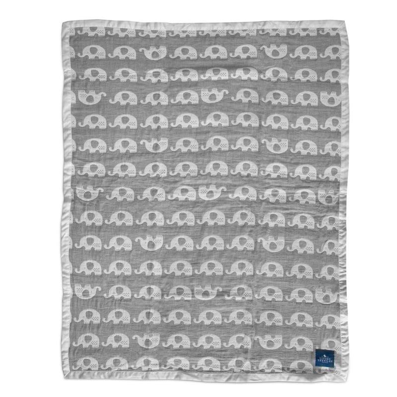 Elephant Muslin Blanket - Gray