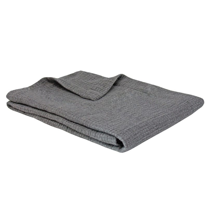 Couverture Coton Texturée Gris