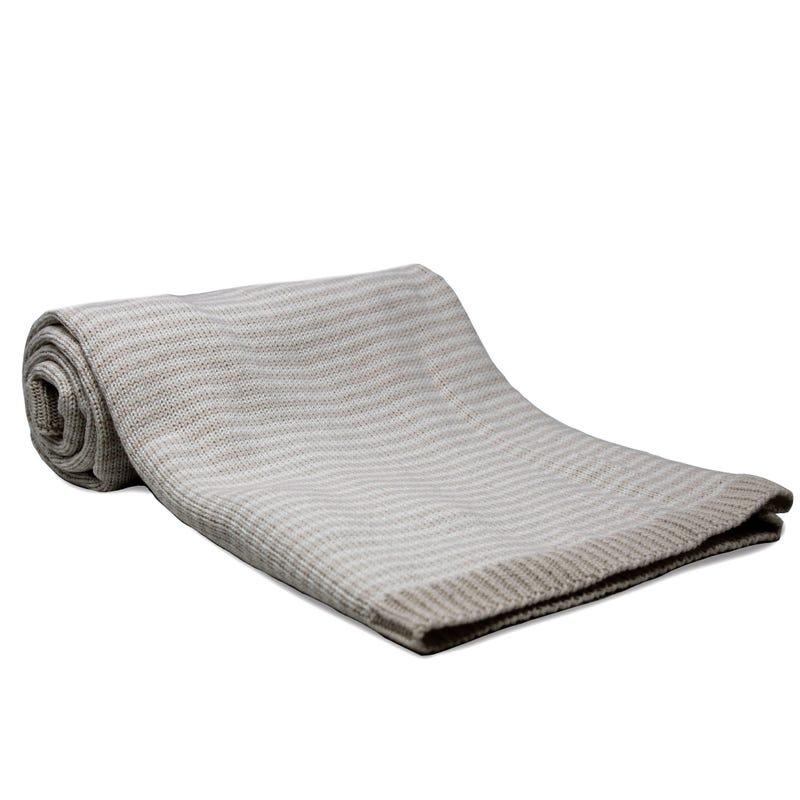 Couverture en Coton - Blanc / Gris