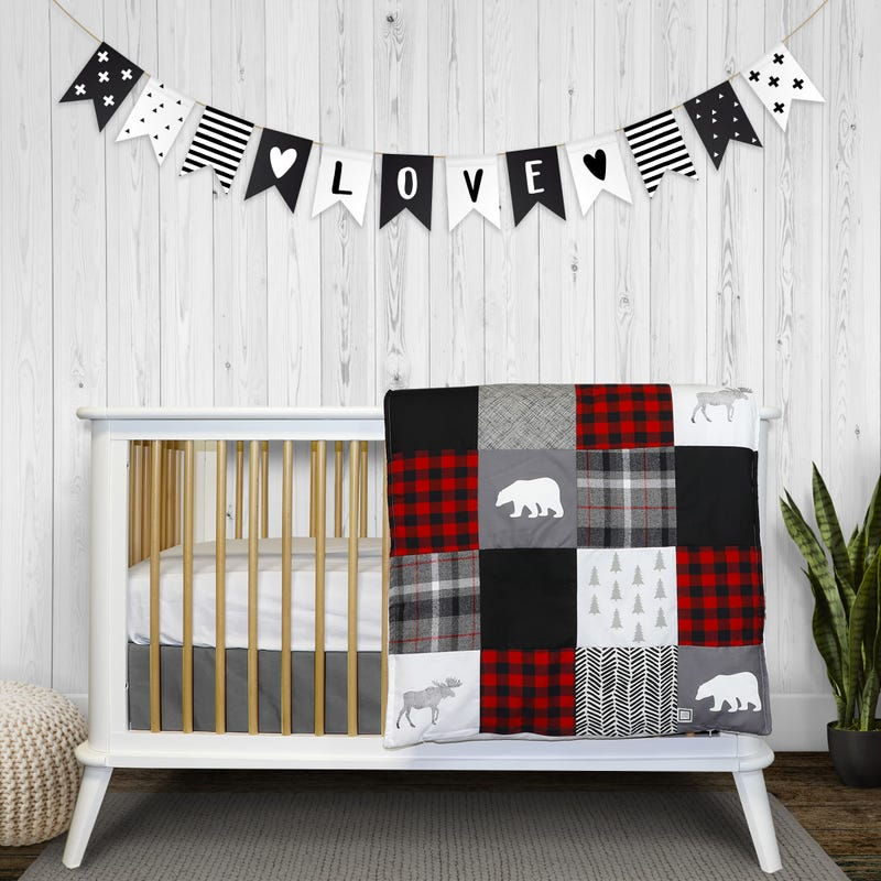 4-Piece Crib Bedding Set - Cabbin Style