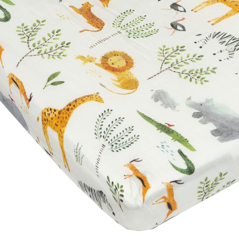 Fitted Crib Sheet -Safari