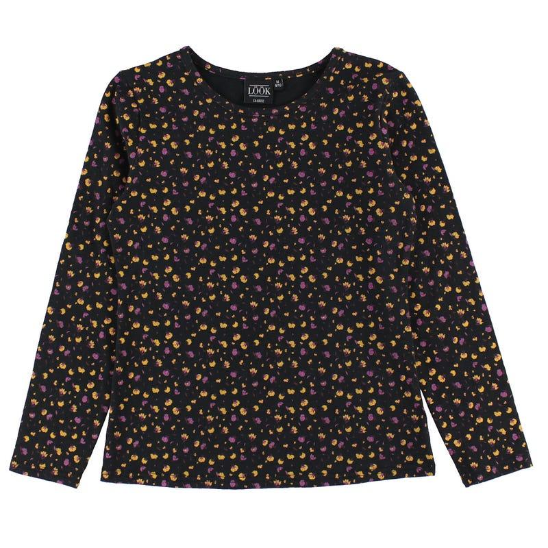 T-shirt Manches Longues Fleuri Charme 7-14ans