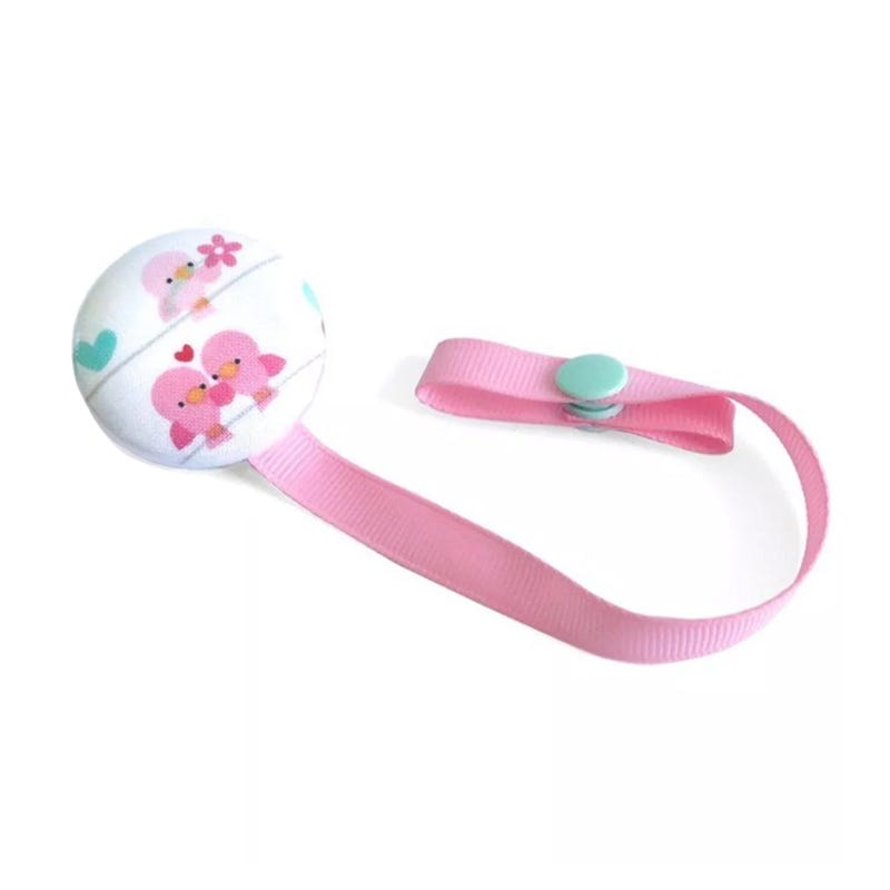 Pacifier Clip - Pink/Aqua Birds