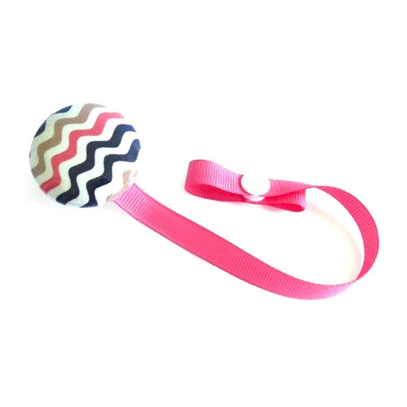 Pacifier Clip - Pink/Black Zigzag