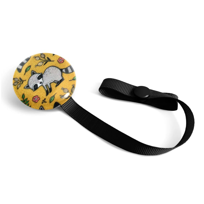 Pacifier Clip - Racoon Yellow