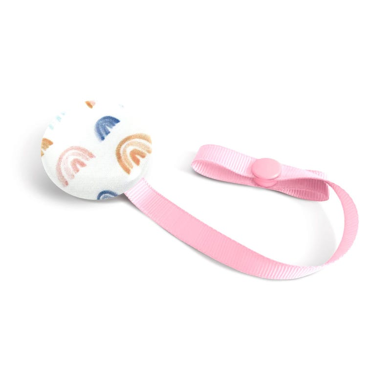 Pacifier Clip Pink Rainbow