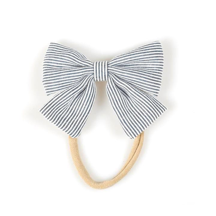 Nylon Headband  Stiped Bow- Navy Blue