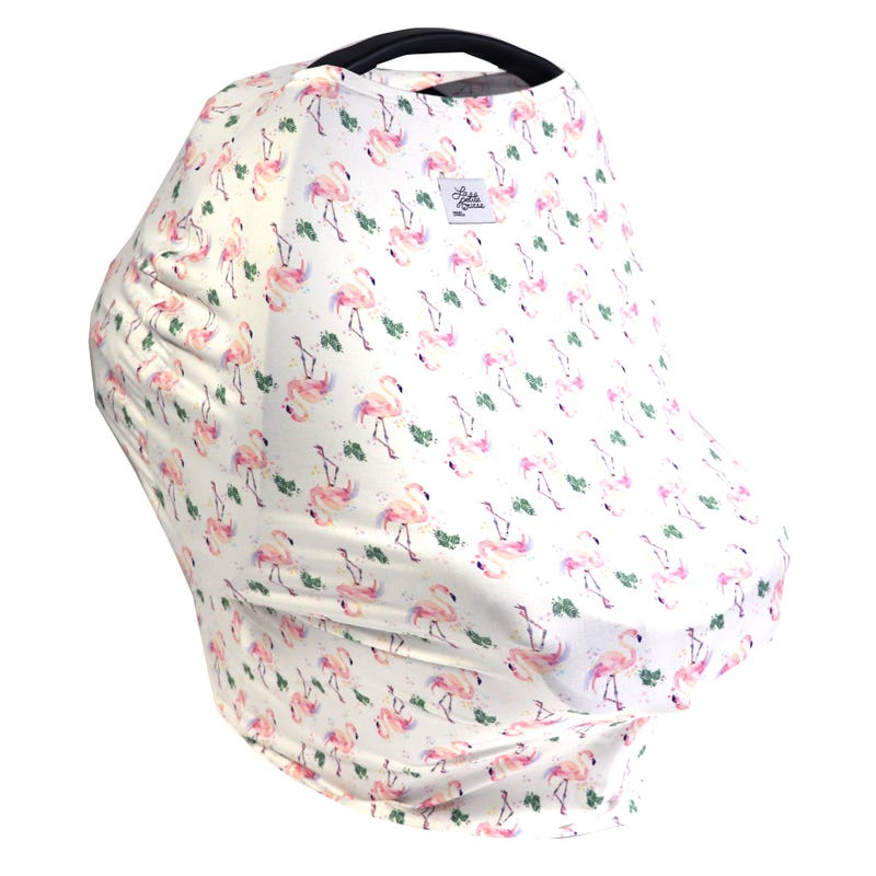 3 in 1 Car Seat Cover/Nusring Scarf - Flamingo