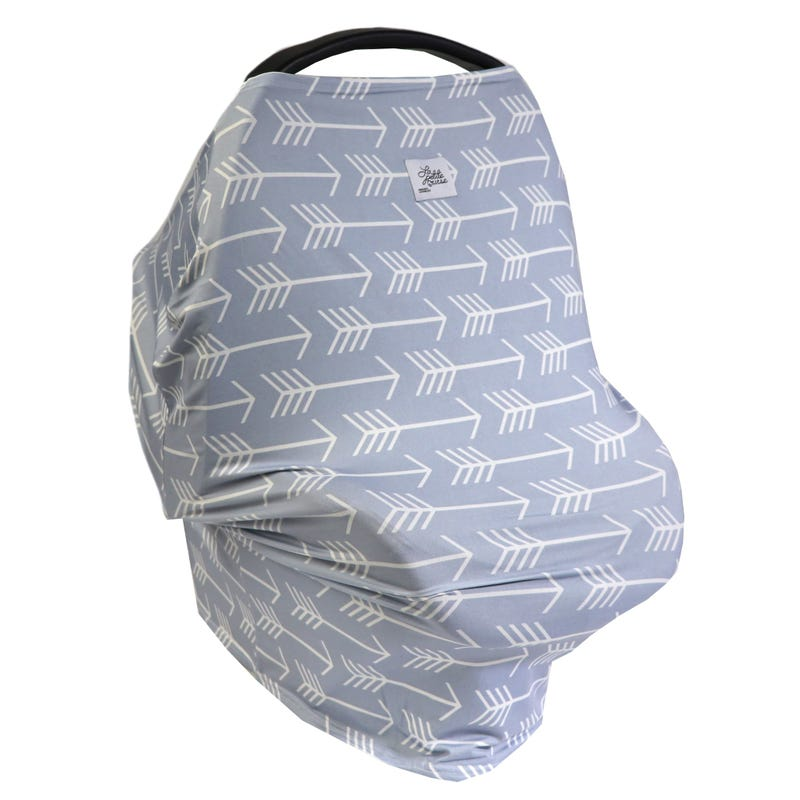 3 in 1 Car Seat Cover/Nusring Scarf - Gray Arrow