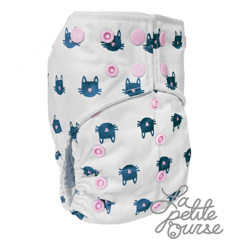 Cloth Diaper 10-35lbs - Cat Mustache