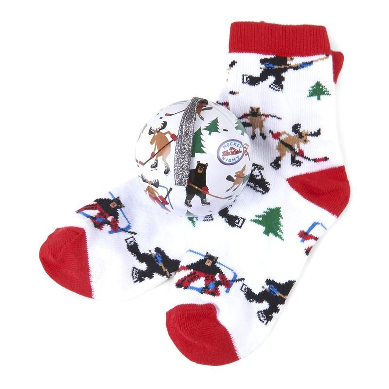 Gift Set Christmas Ornament and Socks 4-7 – Hockey