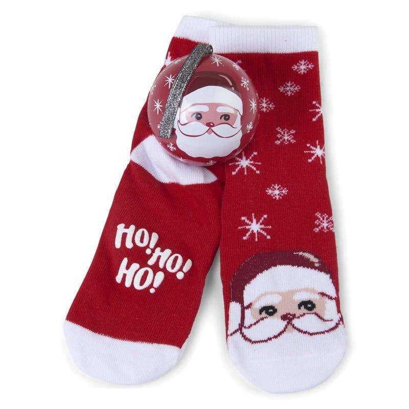 Ensemble Cadeau Boule de Noël et Bas 4-7ans – Père Noël