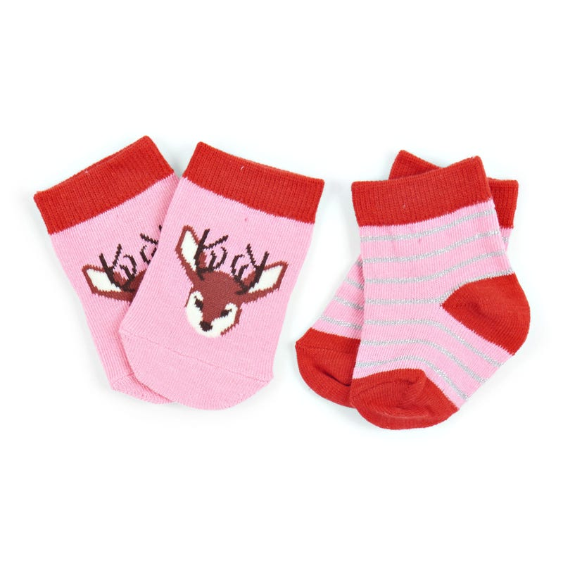 Socks Set of 2 0-12m - Pretty Fawn