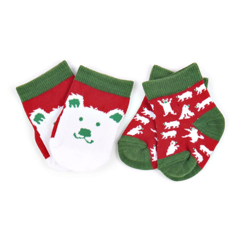 Socks Set of 2 0-12m - Beary Xmas