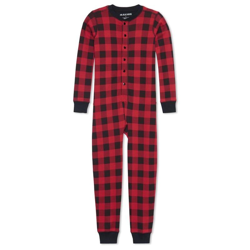 Moose Plaid 1 Piece Pajamas 2-14