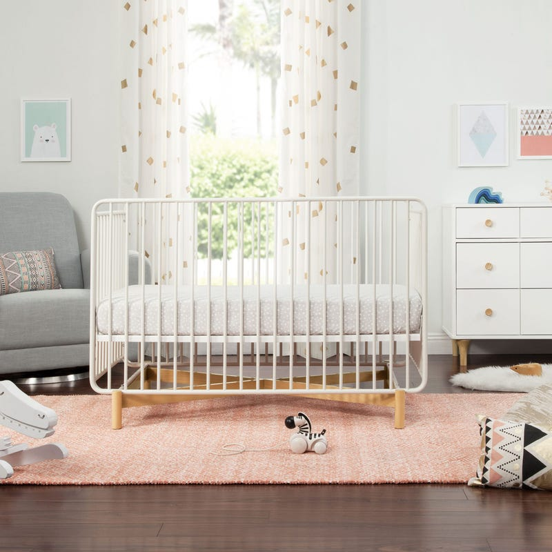 Bixby Metal Crib with Toddler Bed Conversion Kit - White / Natural