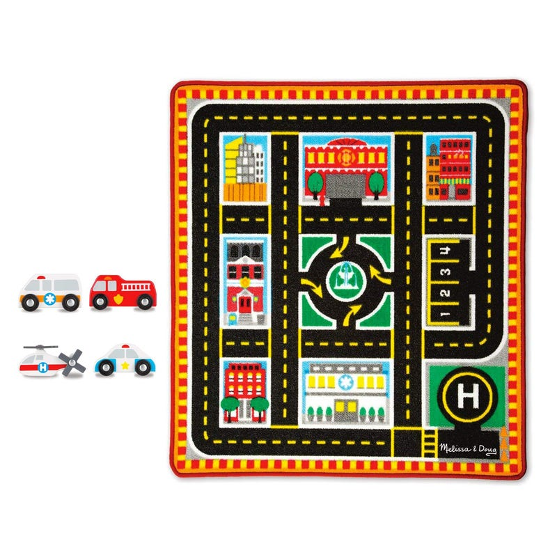Round The City Rescue Rug and Vehicule Set