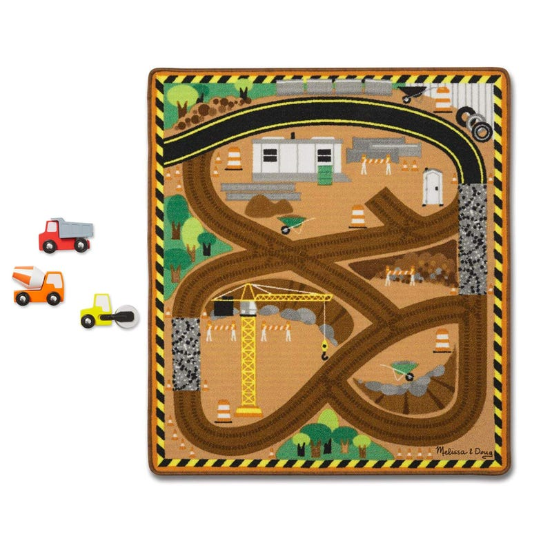Round The Construction Zone Work Site Rug and Vehicule Set