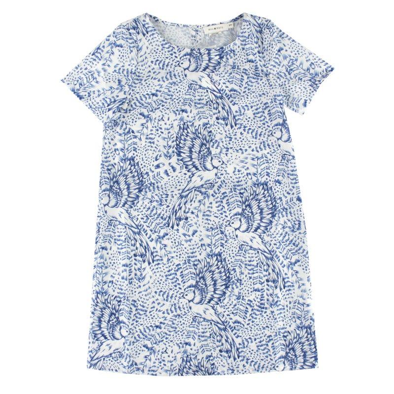 Short Sleeve Print Dress 8-14y - Birds
