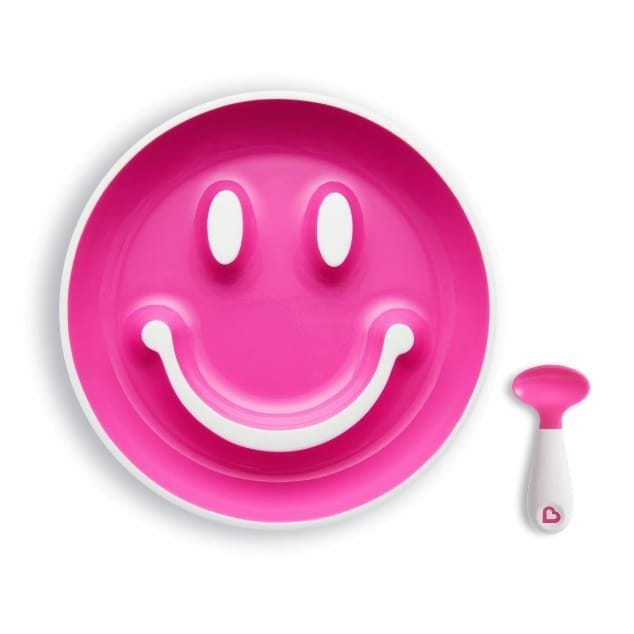 Smile 'n Scoop Suction Plate and Training Spoon - Pink