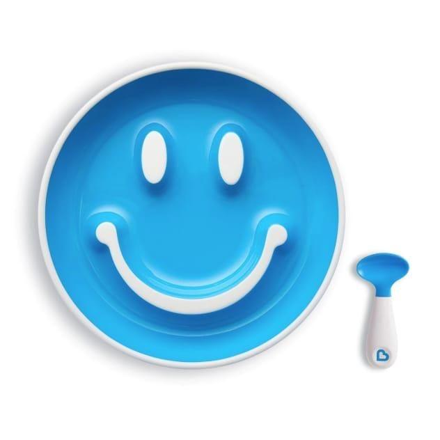Assiette Sourire + Cuillère Bleu