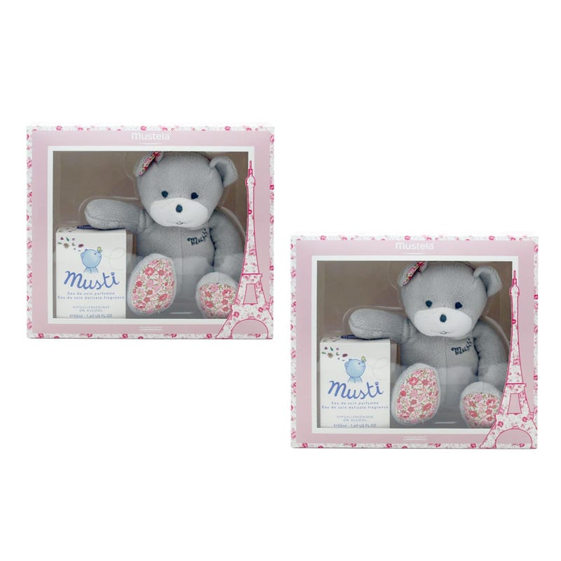 Duo coffret musti ours rose