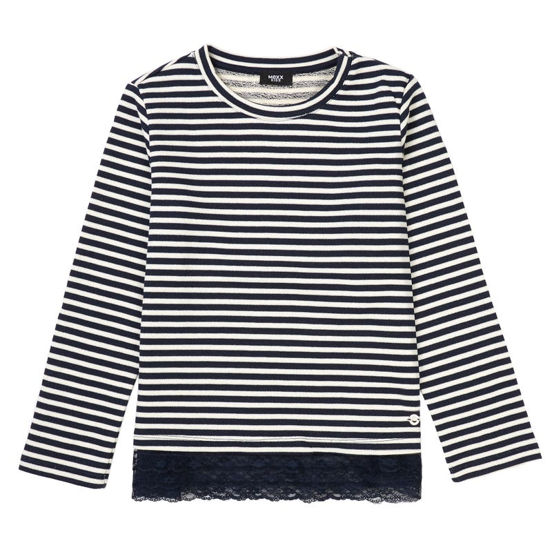 Lace Striped Long Sleeve Shirt 7-14y