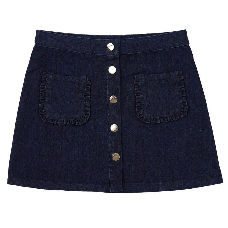 Denim Button Skirt 7-14y