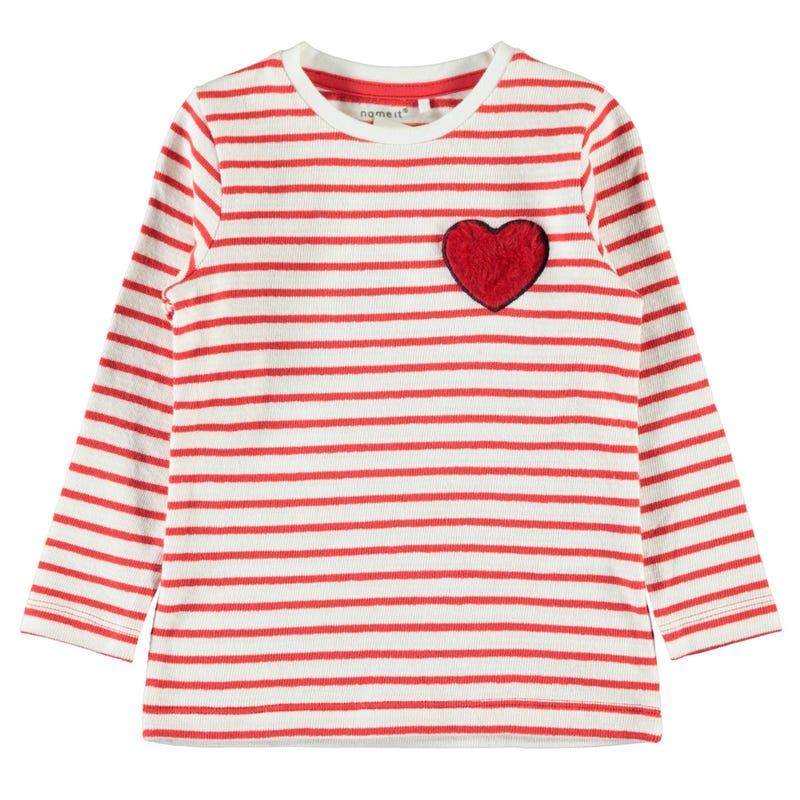 T-Shirt à Manches Longues Rayé Amour 2-8ans