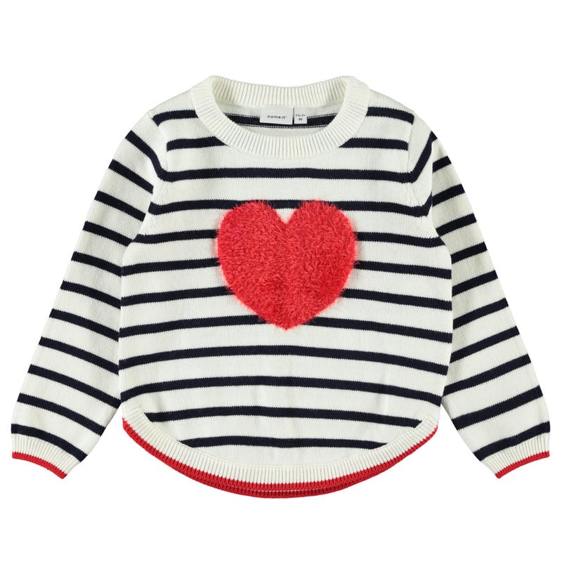 Pull Tricot Rayé Amour 2-8ans