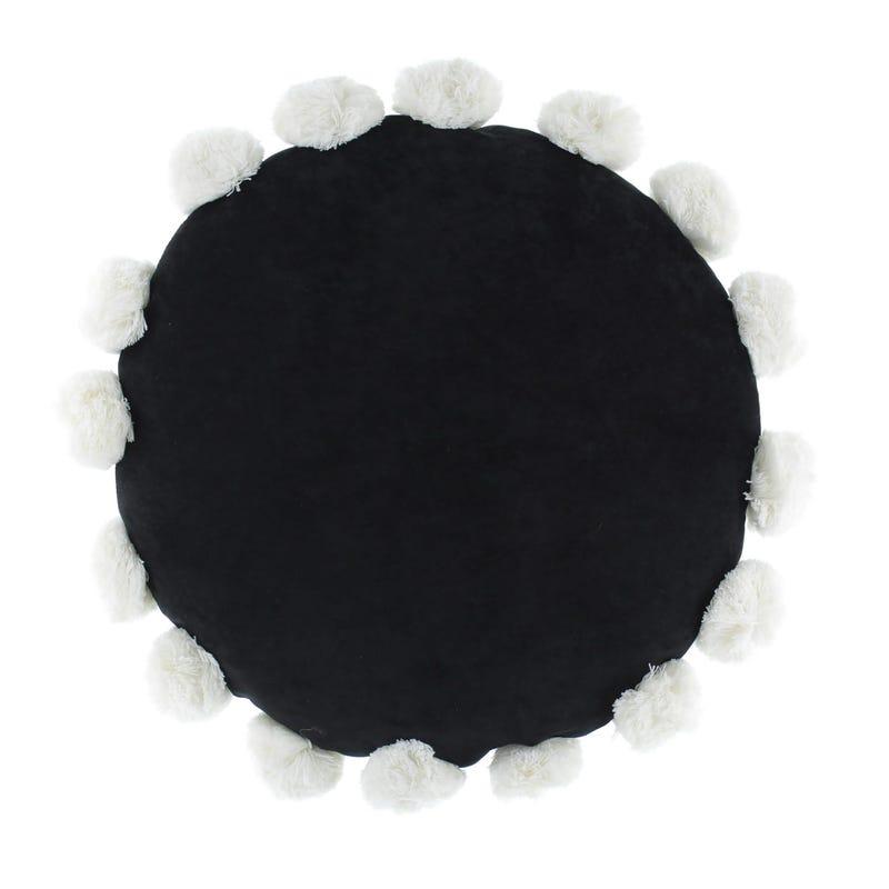 Coussin Rond Noir Pompons Blanc
