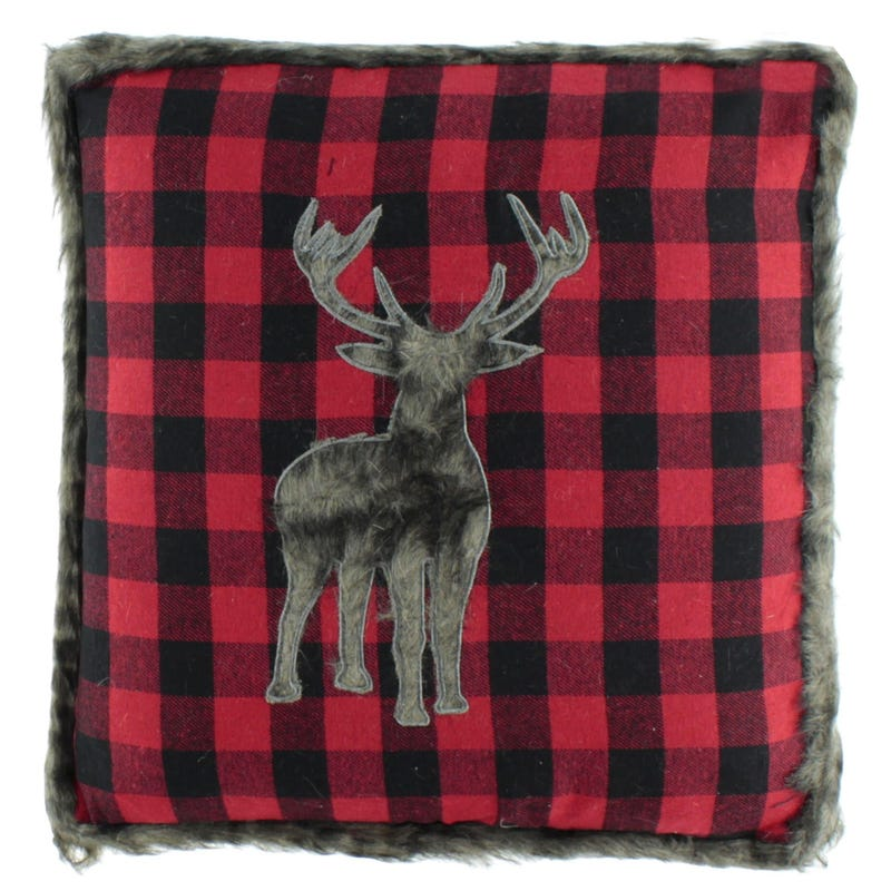 Moose Plaid Fur Cushion - Red