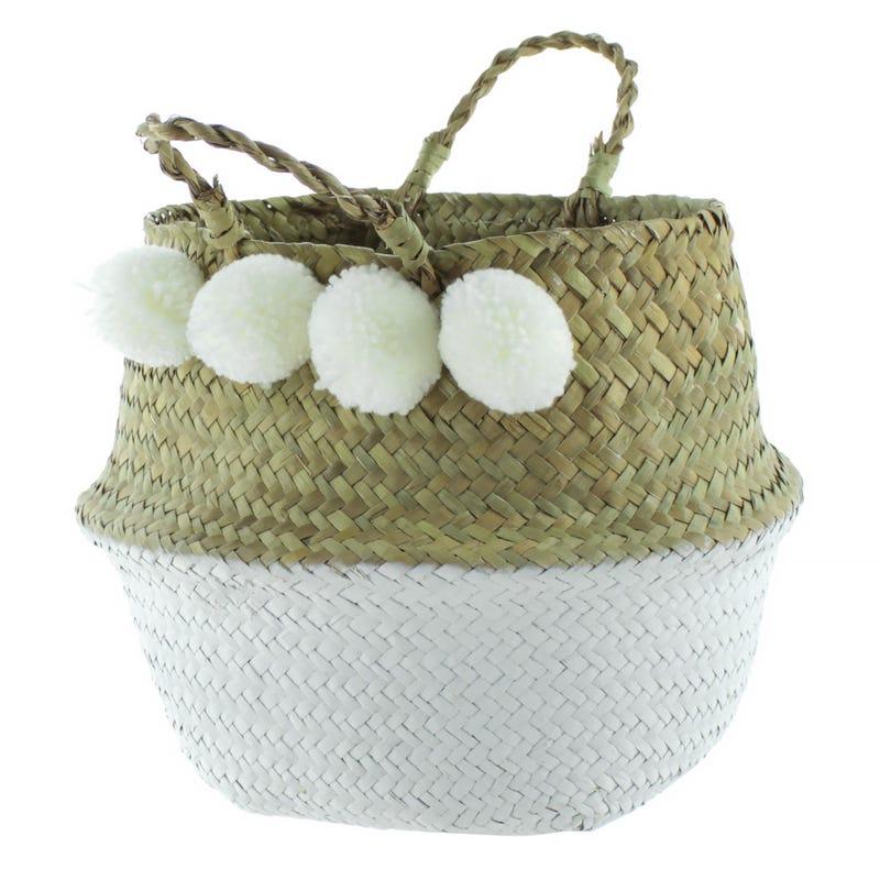 Basket Beige White Pompom